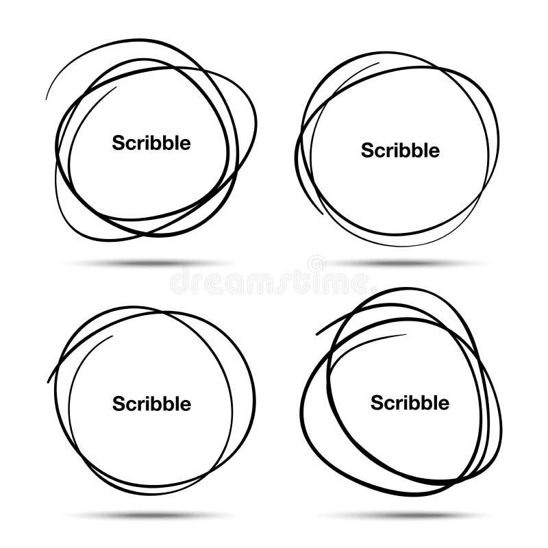 Den drog uppsättningen av handen klottrar cirklar stock illustrationer