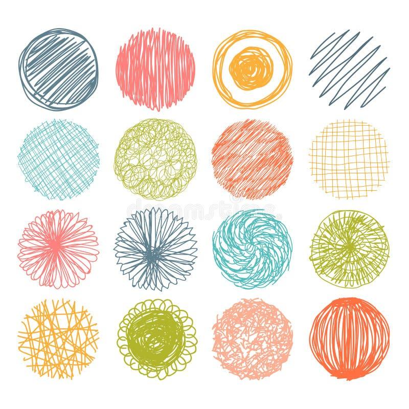 Den drog uppsättningen av handen klottrar cirklar den lätta designen redigerar element till vektorn royaltyfri illustrationer