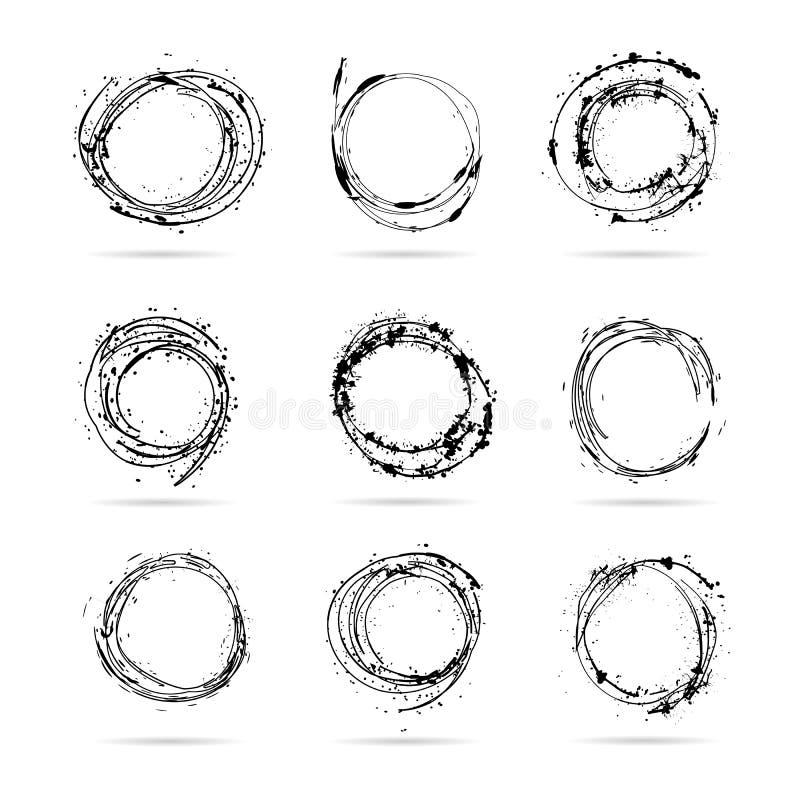 Den drog uppsättningen av handen klottrar isolerade cirklar royaltyfri illustrationer