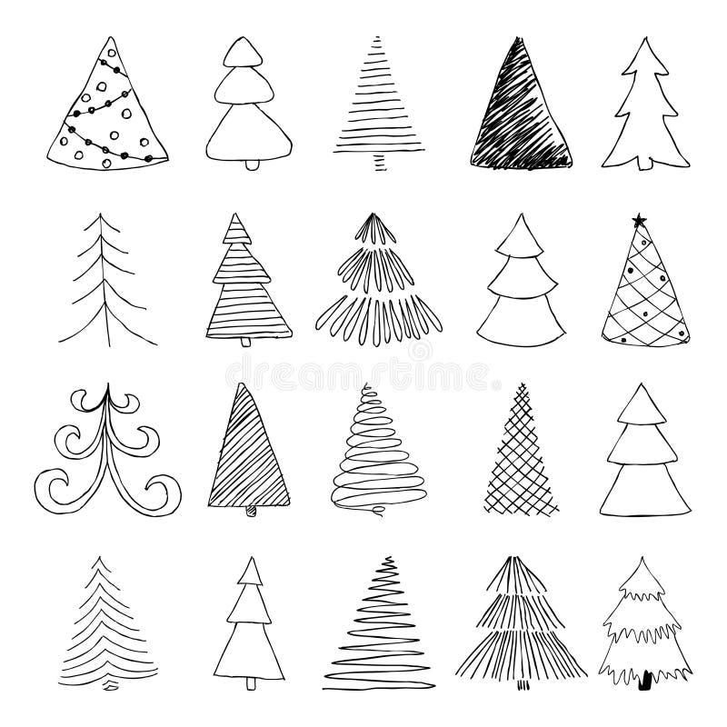 Den drog uppsättningen av handen skissar julgranen planlägg för feriehälsningkort och inbjudningar av den glade julen och den lyc royaltyfri illustrationer