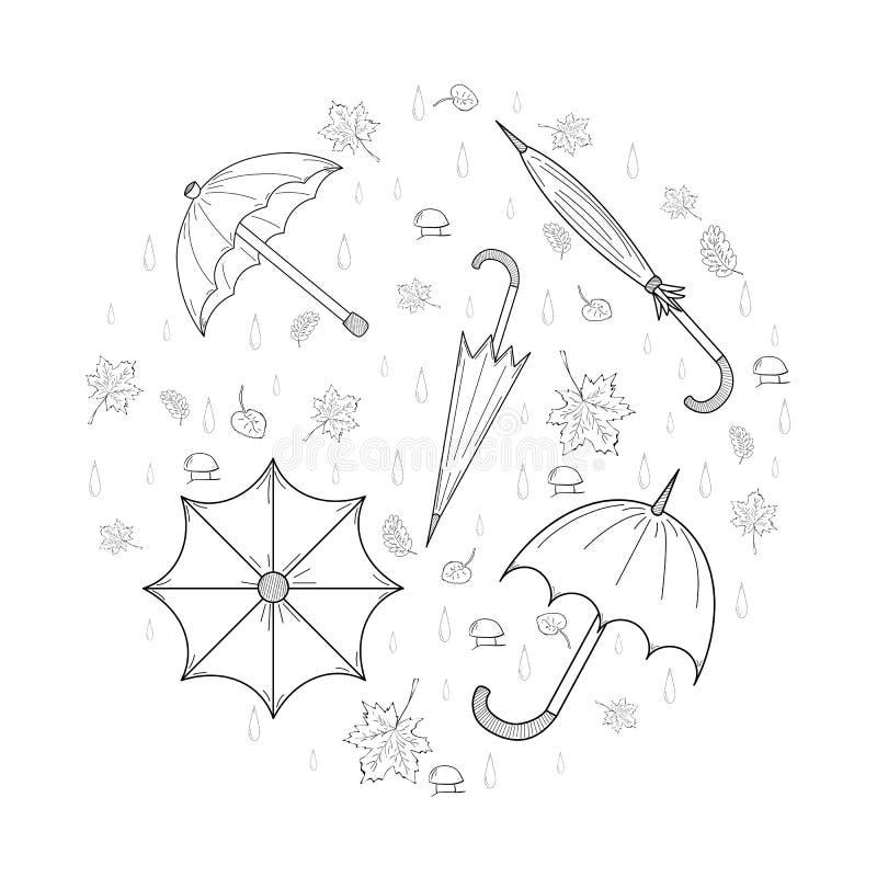 Den drog uppsättningen av handen skissar ordnade höstparaplyer, sidor, champinjoner och droppar i en form av en cirkel vektor illustrationer