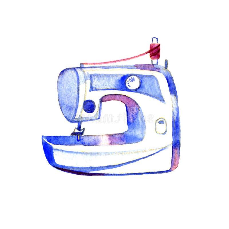 Den drog vattenfärghanden skissar illustrationen av symaskinen bakgrund isolerad white stock illustrationer