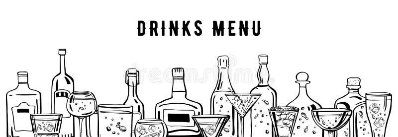 Den drog vektoröversiktshanden skissar illustrationen med alkoholflaskor och exponeringsglas som isoleras på vit bakgrund stock illustrationer