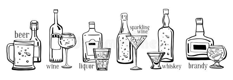 Den drog vektoröversiktshanden skissar illustrationen ställde in med alkoholflaskor, drinktitlar och exponeringsglas stock illustrationer