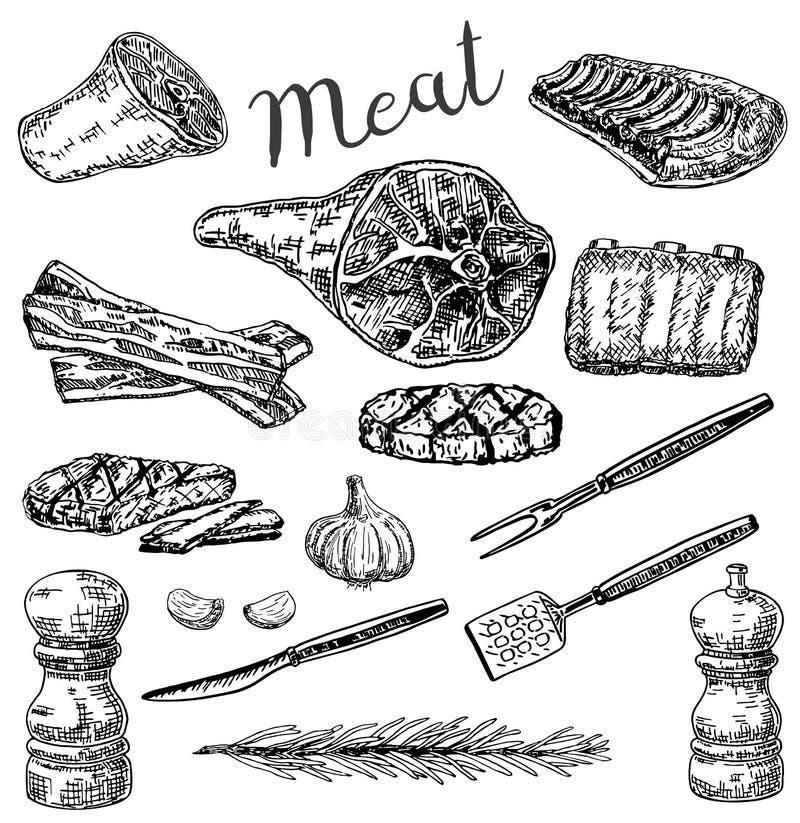 Den drog vektorfärgpulverhanden skissar stilköttproduktuppsättningen royaltyfri illustrationer
