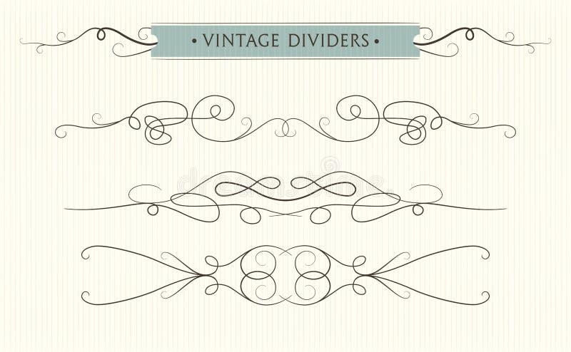 Den drog vektorhanden frodas, textavdelaren, eleme för grafisk design vektor illustrationer