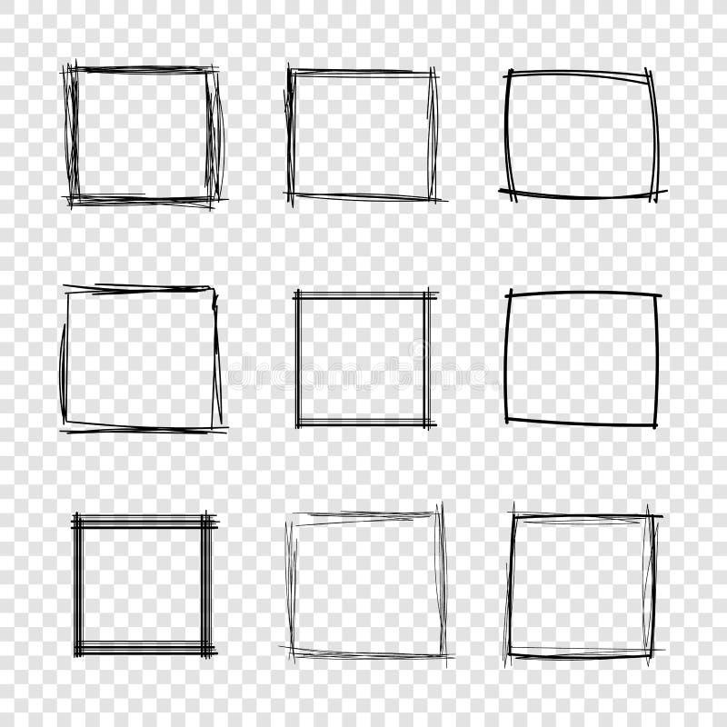 Den drog vektorhanden klottrar fyrkantiga ramar på genomskinlig bakgrund stock illustrationer