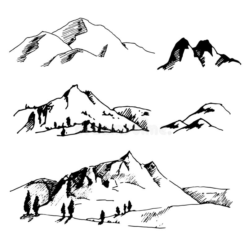 Den drog vektorhanden skissar av abstrakt bergillustration på vit bakgrund vektor illustrationer