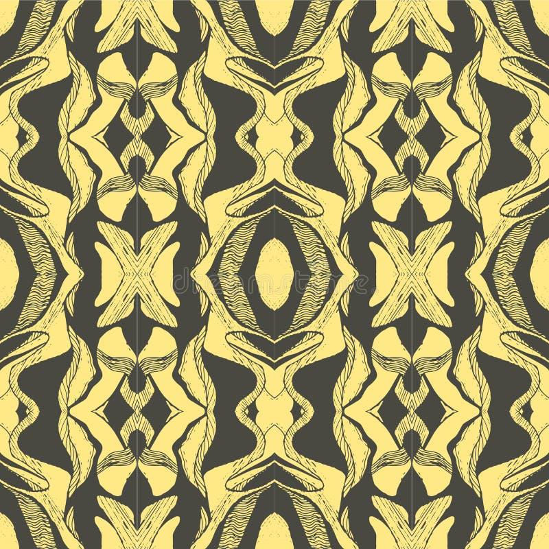 Den drog vektorhanden skissar av abstrakt sömlös modellillustration på gul bakgrund royaltyfri illustrationer