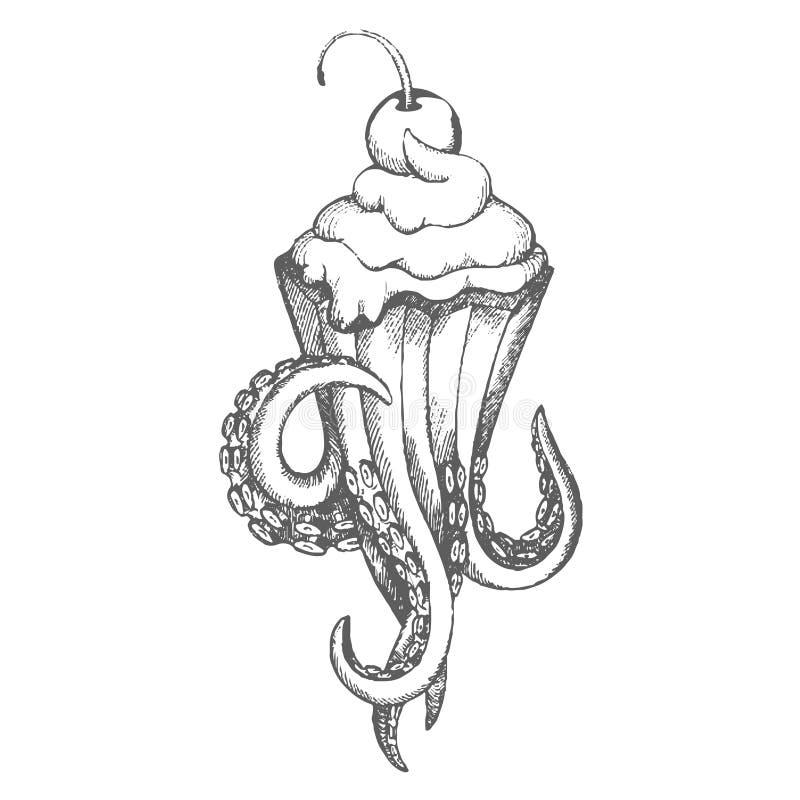 Den drog vektorhanden skissar av bläckfiskglassillustration på vit bakgrund royaltyfri illustrationer