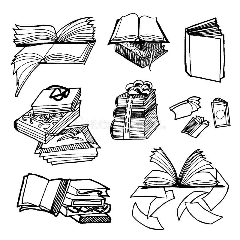 Den drog vektorhanden skissar av bokillustration på vit bakgrund stock illustrationer