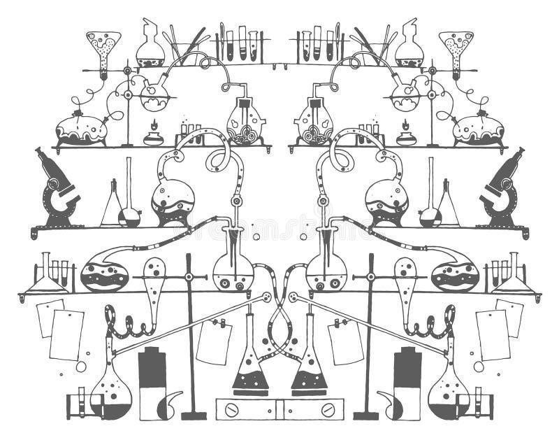 Den drog vektorhanden skissar av kemiillustration på vit bakgrund royaltyfri illustrationer
