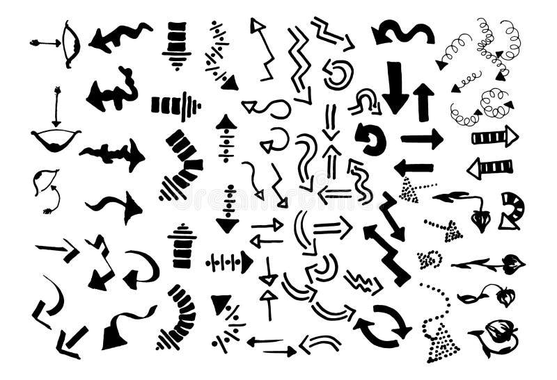 Den drog vektorhanden skissar av pilillustration på vit bakgrund royaltyfri illustrationer