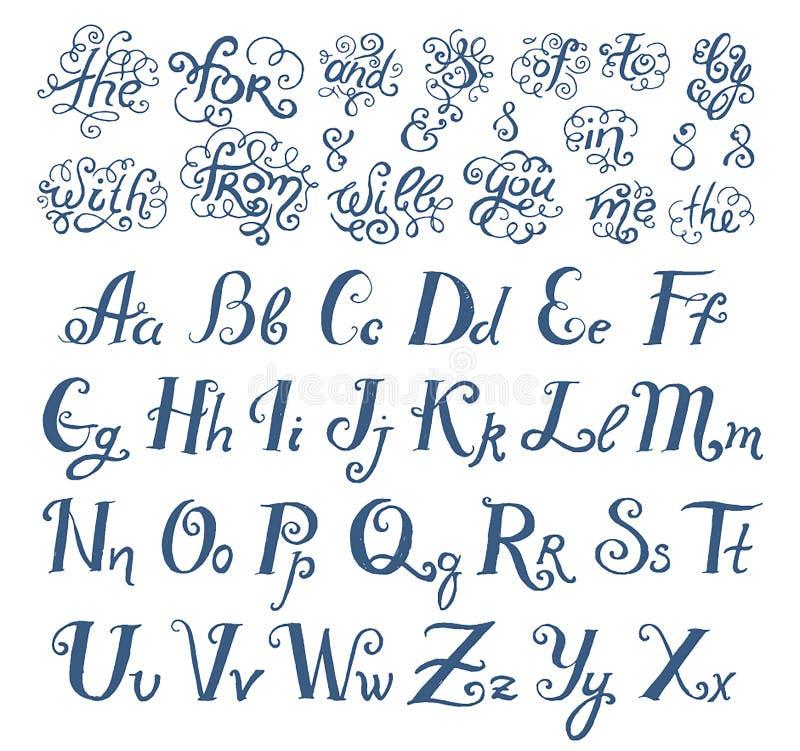 Den drog vektorhanden skissar av prepositionord i illustration för tappningstilsortsstil på vit bakgrund stock illustrationer