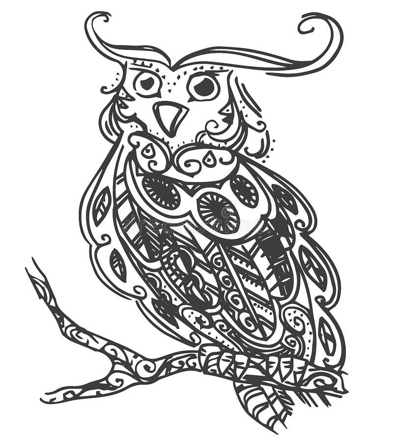 Den drog vektorhanden skissar av ugglafågelillustration på vit bakgrund royaltyfri illustrationer