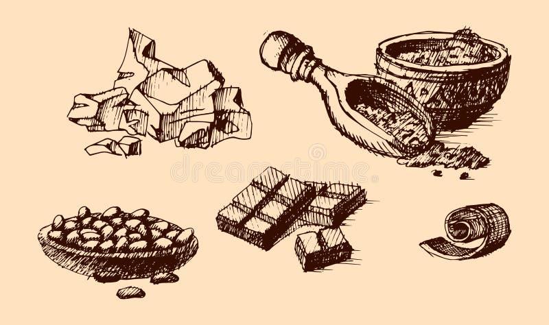 Den drog vektorkakaohanden skissar illustrationen stock illustrationer