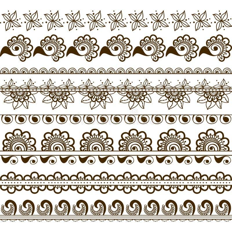 Den drog vektoruppsättningen av handen gränsar i etnisk indisk stil Samling av modellborstar inom royaltyfri illustrationer