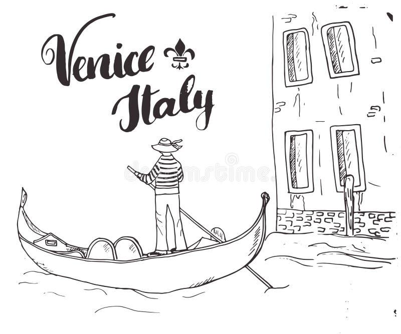 Den drog Venedig Italien handen skissar klottergondoljären och att märka det handskrivna tecknet, calligraphic text för grunge oc vektor illustrationer