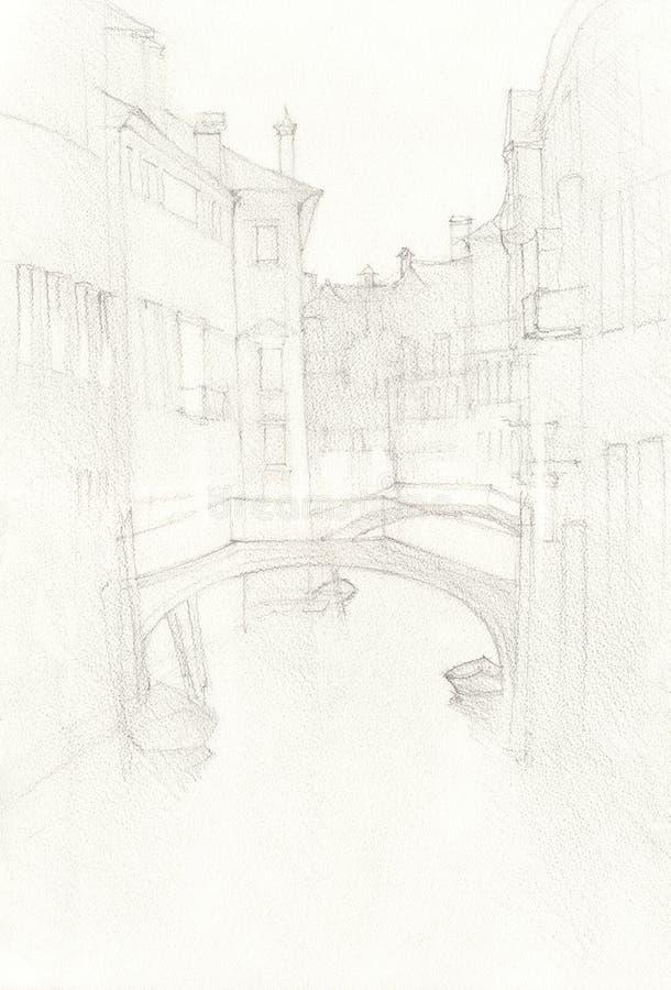 Den drog Venedig stadshanden, blyertspenna skissar illustrationen stock illustrationer