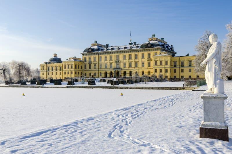 Drottningholm slottwintertime royaltyfria bilder