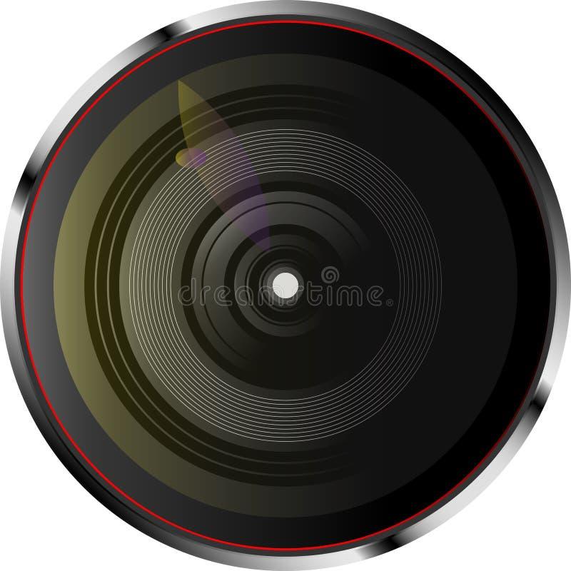 Den dynamiska kameran len med färgljus också vektor för coreldrawillustration royaltyfri foto