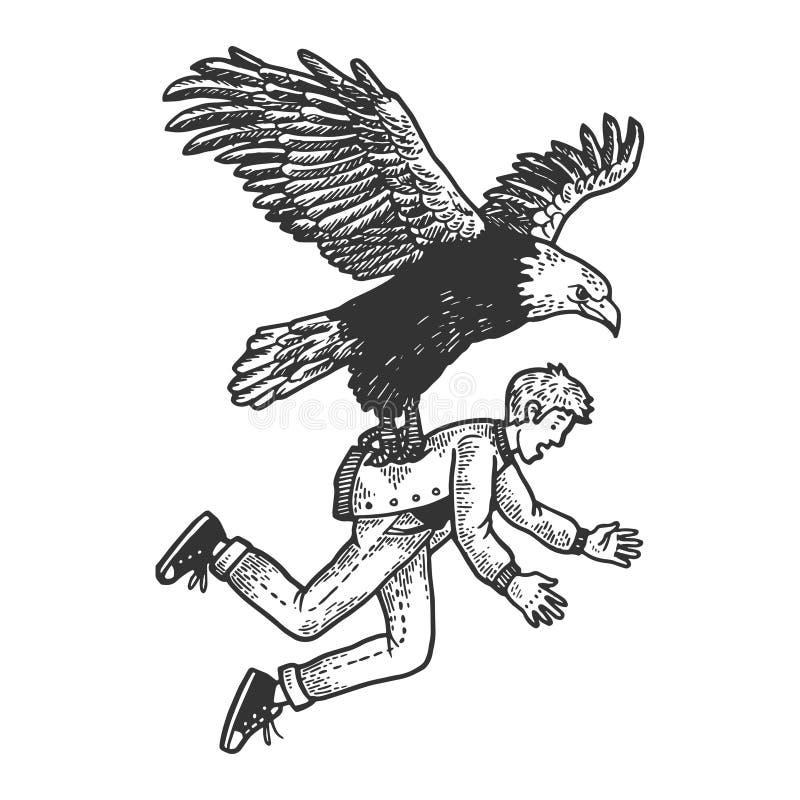 Den Eagle fågeln kidnappar människan skissar att inrista stock illustrationer