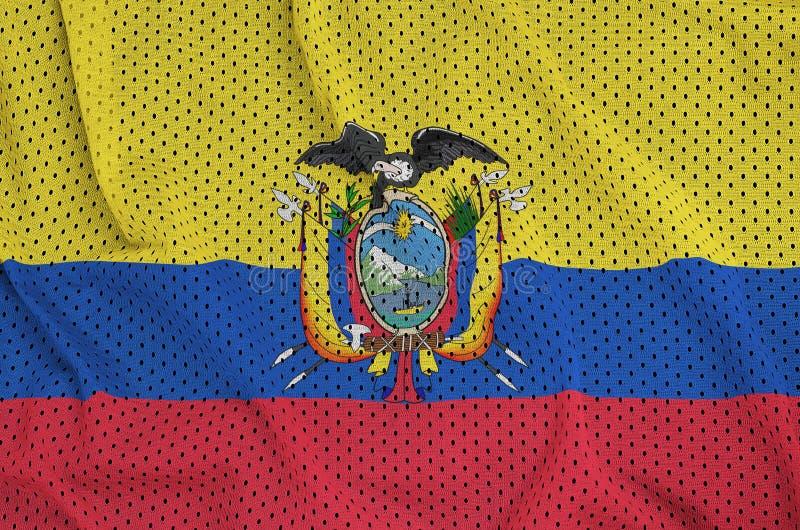 Den Ecuador flaggan skrivev ut på ett tyg för ingrepp för polyesternylonsportswear royaltyfria bilder