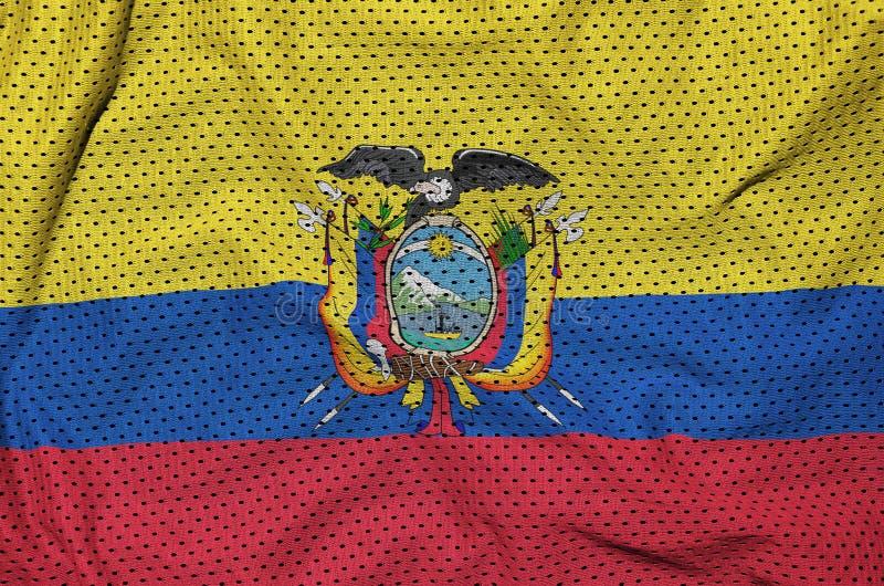 Den Ecuador flaggan skrivev ut på ett tyg för ingrepp för polyesternylonsportswear royaltyfria foton