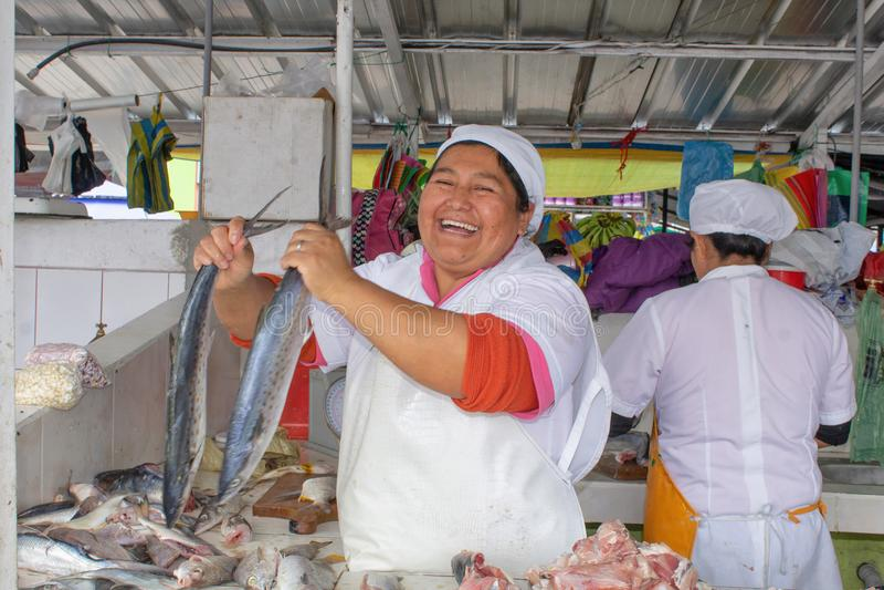 Den ecuadorianska kvinnan säljer den nya fisken i marknaden ecuador quito arkivfoton