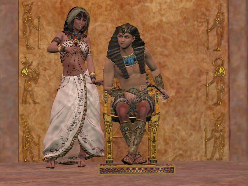 Den egyptiska drottningen råder farao royaltyfri illustrationer