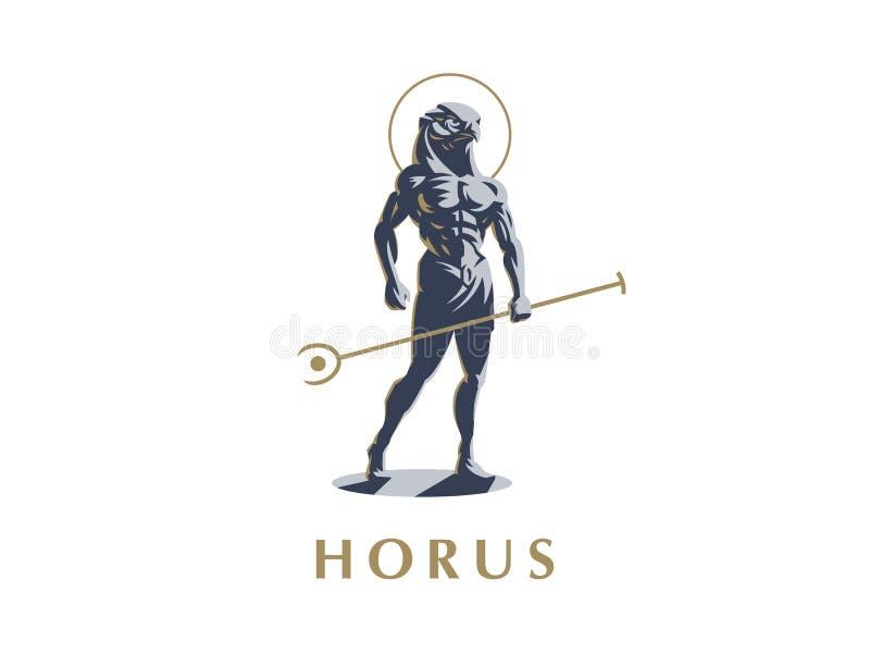 Den egyptiska guden Horus också vektor för coreldrawillustration stock illustrationer