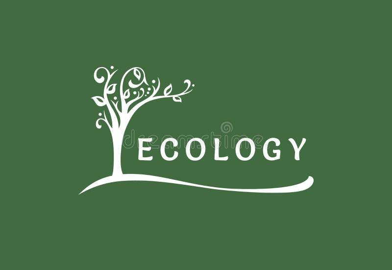 Den ekologiska logoen, trädet blommar och lutar över texten vektor illustrationer