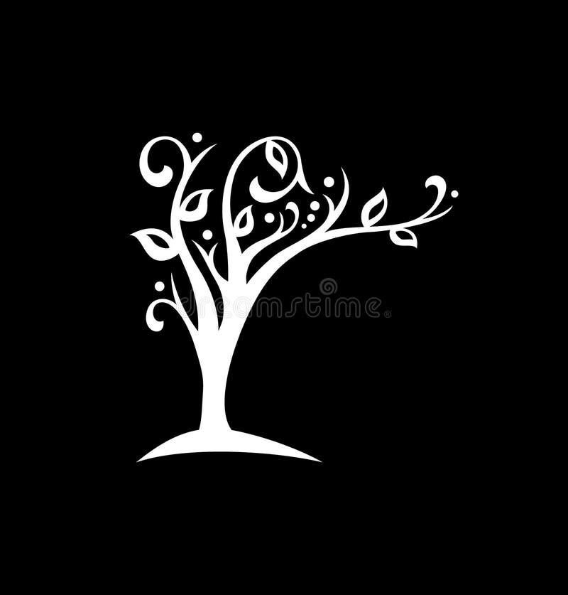 Den ekologiska logoen, trädet blommar och lutar över texten stock illustrationer