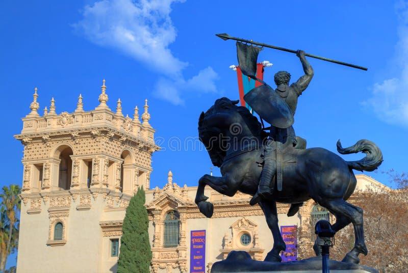 Den El Cid statyn i Balboa parkerar, San Diego arkivfoton