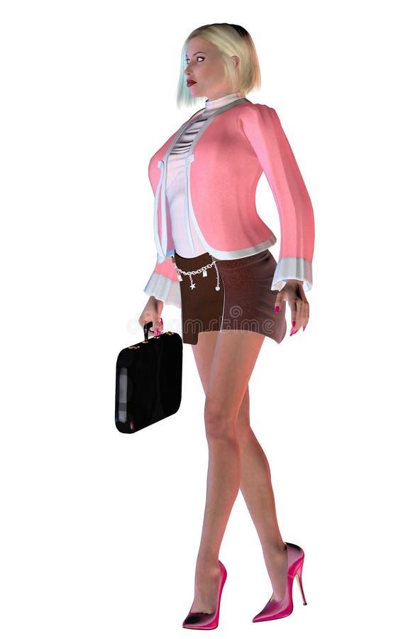 Den eleganta affärskvinnan med rosa färger klär och höga häl, illustrationen 3d royaltyfri illustrationer