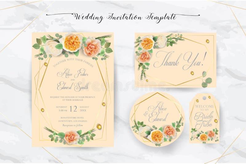 Den eleganta blom- gifta sig inbjudan inviterar, tacka dig, rsvp, sparar datumet, brud- duschkort royaltyfri illustrationer
