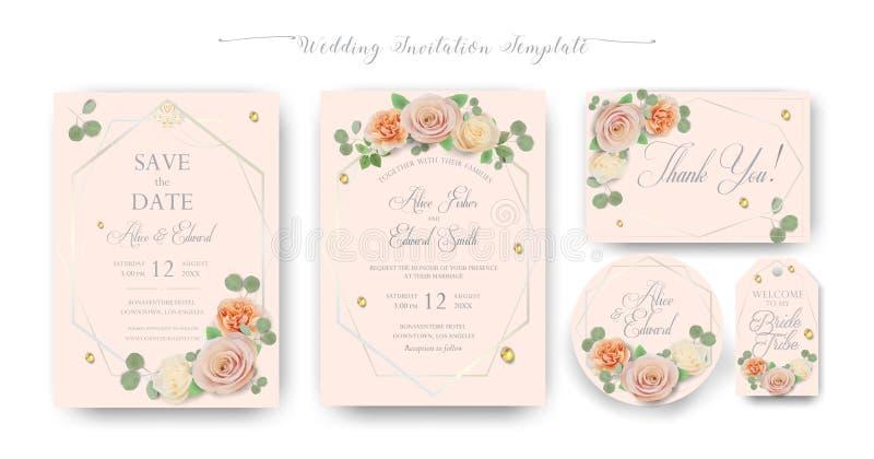 Den eleganta blom- gifta sig inbjudan inviterar, tacka dig, rsvp, sparar datumet, brud- duschkort stock illustrationer