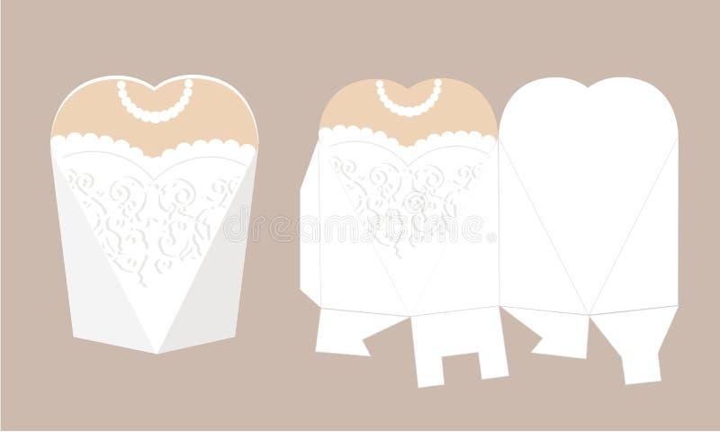 Den eleganta brud- klänningen med snör åt Bröllopsklänningask Tryckbart förpacka Brud - vit favörask Formen av pyramiden och hör stock illustrationer