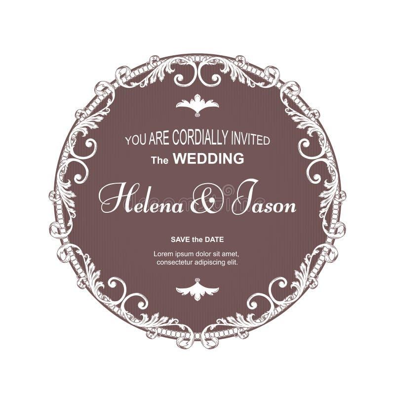 Den eleganta bruntrundavykortet för en bröllopinbjudan, ramen utförs i en viktoriansk stil Passande för utskrift och desig vektor illustrationer