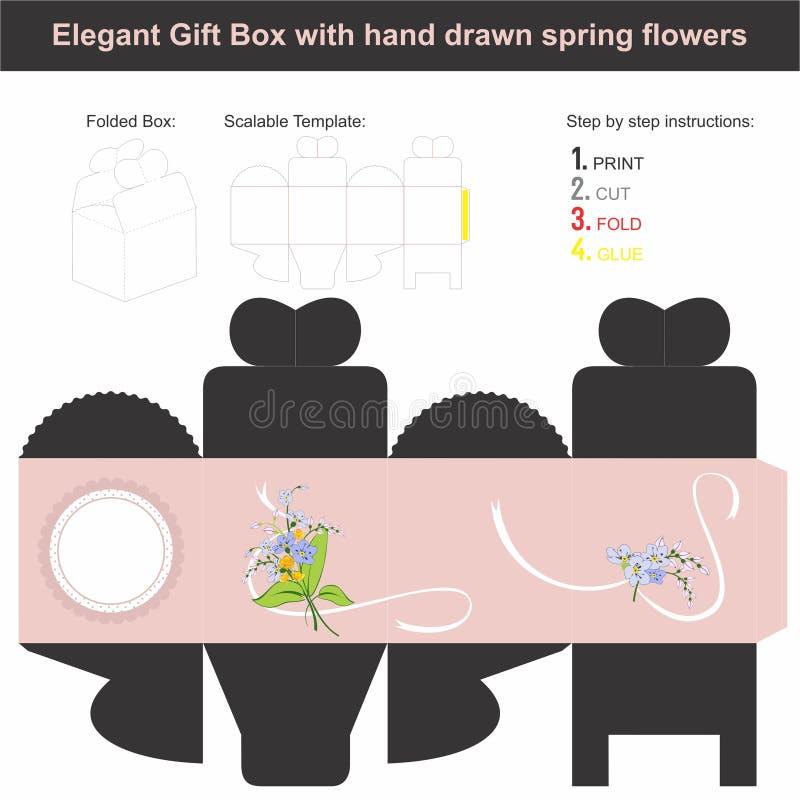 Den eleganta gåvaasken i kubform med handen drog våren blommar royaltyfria foton