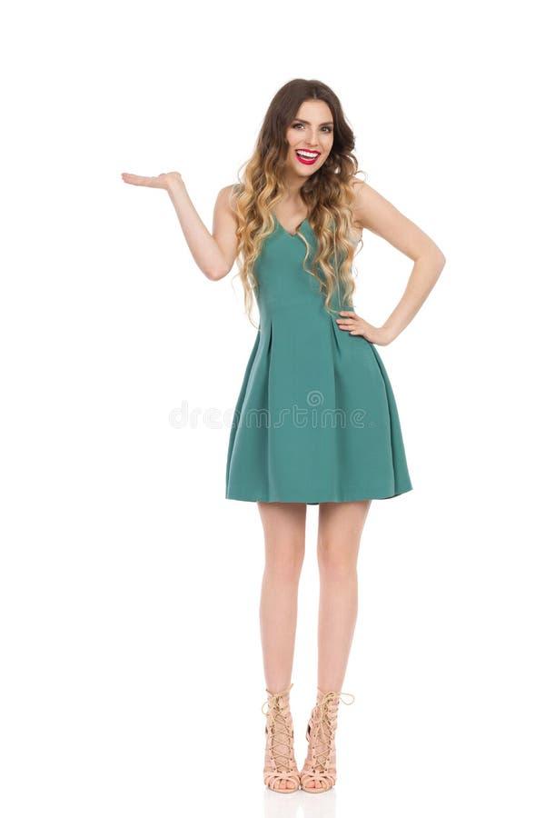 Den eleganta kvinnan i Mini Dress And High Heels framlägger och ler arkivbild