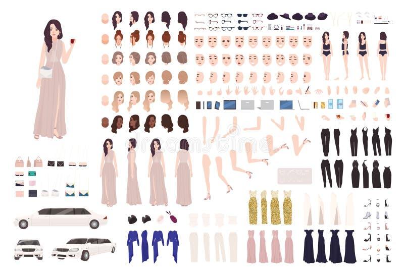 Den eleganta kvinnan klädde uppsättningen för skapelsen för aftonstudentbalkläder eller DIY-satsen Samling av kroppsdelar, ansikt vektor illustrationer