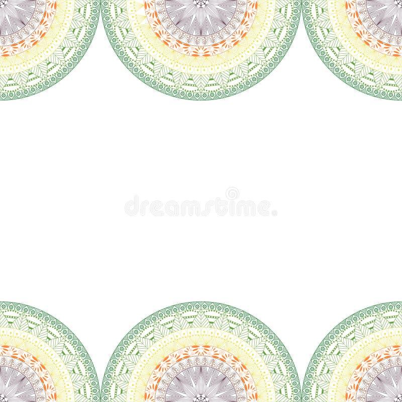 Den eleganta mandalaen, runda snör åt den sömlösa modellen, cirkelbakgrund med många detaljer royaltyfri illustrationer