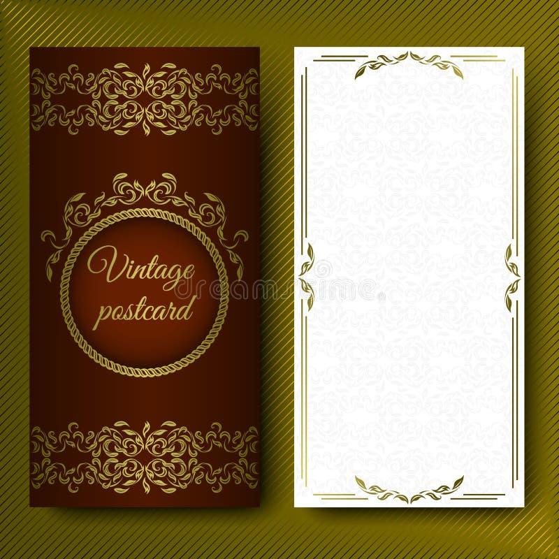 Den eleganta modellen, det lyxiga kortet med snör åt prydnader och förlägger för text Blom- beståndsdelar på ett mörker - röd bak royaltyfri illustrationer