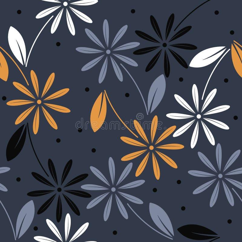 Den eleganta sömlösa modellen med färgrik kamomill blommar på blått stock illustrationer