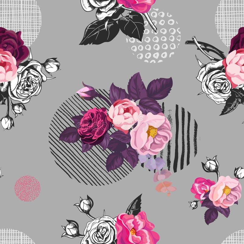 Den eleganta sömlösa modellen med halv-färgat löst steg blommor mot grå bakgrund med handen målade runda beståndsdelar royaltyfri illustrationer