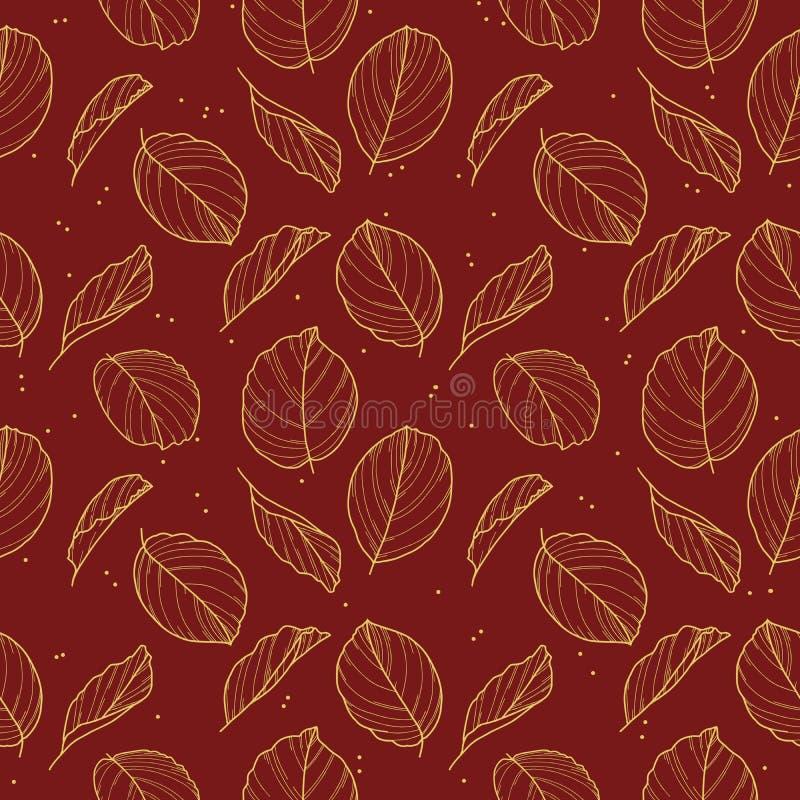 Den eleganta sömlösa modellen med den utdragna guld- Calathea bönväxten lämnar översikter i guld- färg på mörkt - röd bakgrund vektor illustrationer