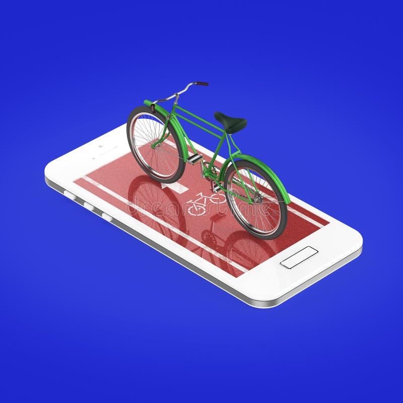 Den eleganta tappningcykeln på pekskärm av smartphonen med vägen, digitala konditionsportar cyklar den uthyrnings- app-metaforen  vektor illustrationer