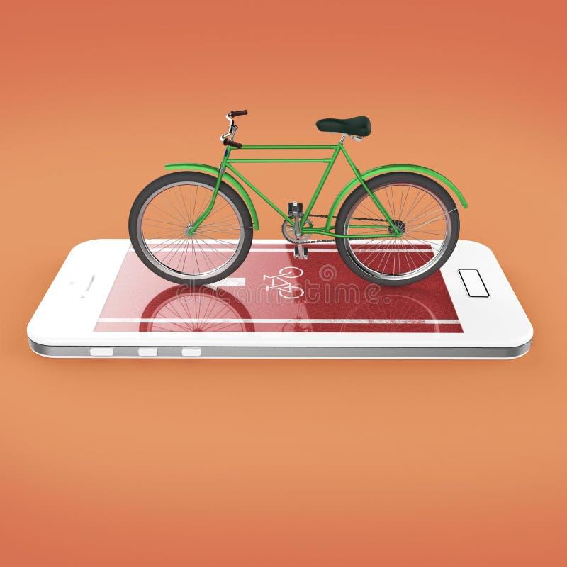 Den eleganta tappningcykeln på pekskärm av smartphonen med vägen, digitala konditionsportar cyklar den uthyrnings- app-metaforen  royaltyfri illustrationer