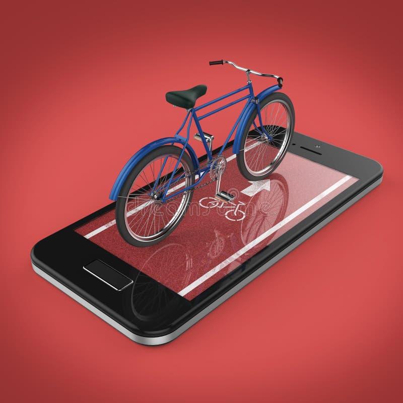 Den eleganta tappningcykeln på pekskärm av smartphonen med vägen, digitala konditionsportar cyklar den uthyrnings- app-metaforen  stock illustrationer